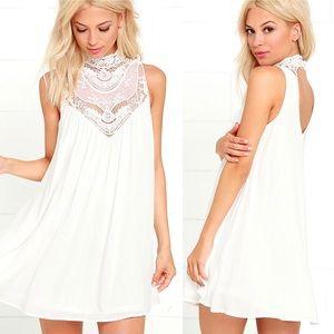 Lulu's Asana white lace swing dress